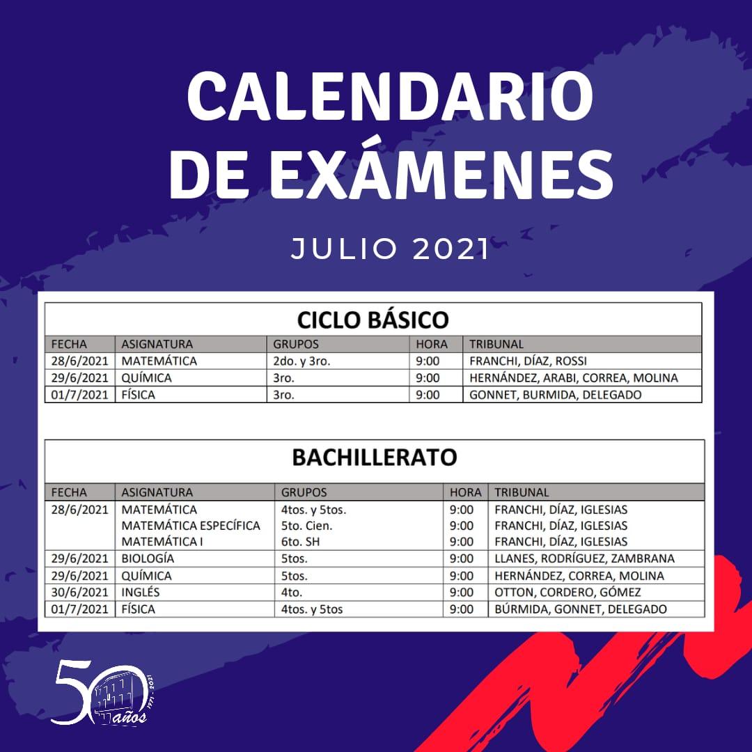 Exámenes Julio 2021